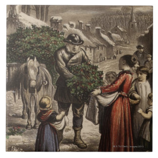 Circa 1850: A carter delivering holly Tile