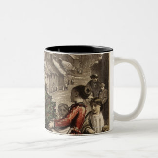 Circa 1850: A carter delivering holly Two-Tone Coffee Mug