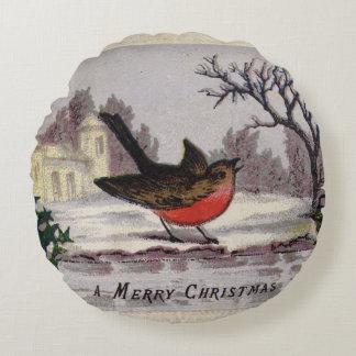 Circa 1865: A traditional Christmas robin Round Cushion