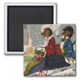 Circa 1870: The Robin family take a stroll Square Magnet