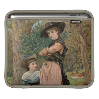 Circa 1870: Young girls collecting mistletoe iPad Sleeve