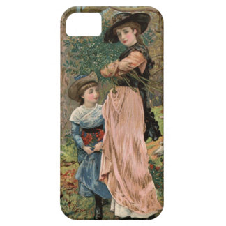 Circa 1870: Young girls collecting mistletoe iPhone 5 Cover
