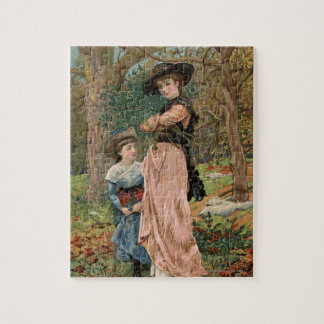 Circa 1870: Young girls collecting mistletoe Jigsaw Puzzle