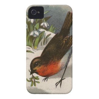 Circa 1871: A robin, with mistletoe in its beak iPhone 4 Case