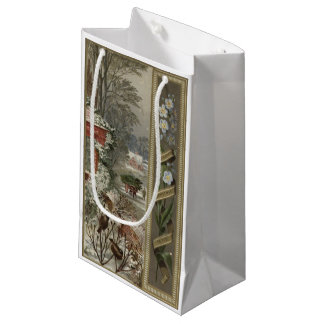 Circa 1871: A wintry Christmas scene Small Gift Bag