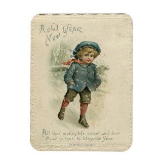 Circa 1871: A young boy skating over ice Rectangular Photo Magnet