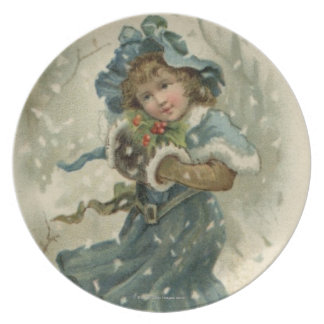 Circa 1871: A young girl in the snow Plate
