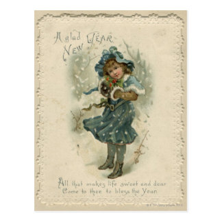 Circa 1871: A young girl in the snow Postcard