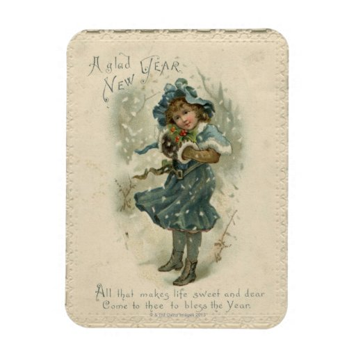 Circa 1871: A young girl in the snow Vinyl Magnets