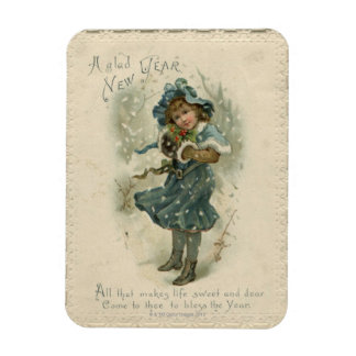 Circa 1871: A young girl in the snow Rectangular Photo Magnet