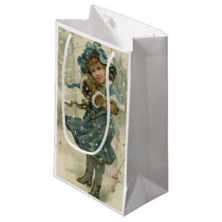 Circa 1871: A young girl in the snow Small Gift Bag