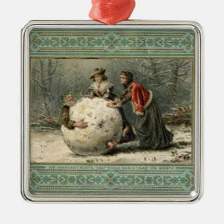 Circa 1879: Two women roll man in snow Christmas Ornament