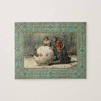 Circa 1879: Two women roll man in snow Jigsaw Puzzle
