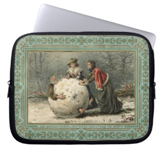 Circa 1879: Two women roll man in snow Laptop Sleeve