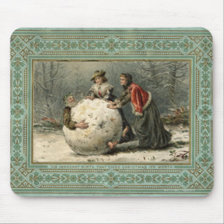 Circa 1879: Two women roll man in snow Mouse Mat