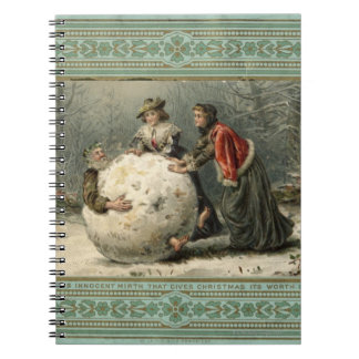 Circa 1879: Two women roll man in snow Spiral Notebook