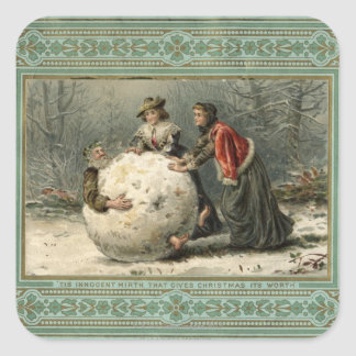 Circa 1879: Two women roll man in snow Square Sticker