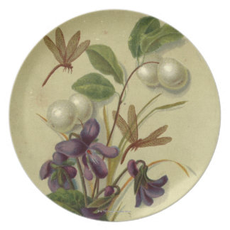 Circa 1881: Snowberries and violets Plate