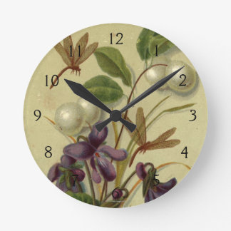 Circa 1881: Snowberries and violets Round Clock