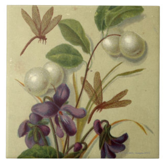 Circa 1881: Snowberries and violets Tile