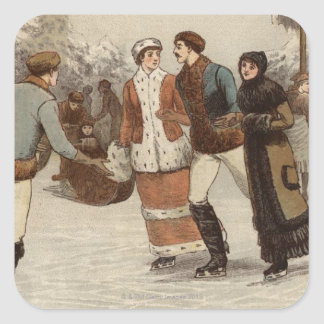 Circa 1899: Ice-skaters enjoying Christmas Square Sticker