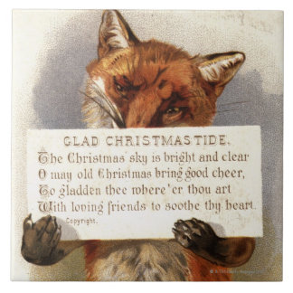Circa 1900: A fox holds a Christmas verse Large Square Tile