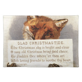 Circa 1900: A fox holds a Christmas verse Placemat