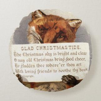 Circa 1900: A fox holds a Christmas verse Round Cushion