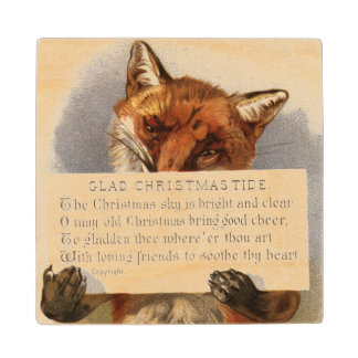 Circa 1900: A fox holds a Christmas verse Wood Coaster