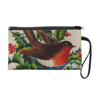 Circa 1900: A traditional Christmas robin Wristlet Purse