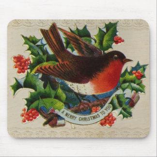Circa 1900: A traditional Christmas robin Mouse Pad