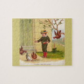 circa 1900 Feeding the Chickens Jigsaw Puzzle