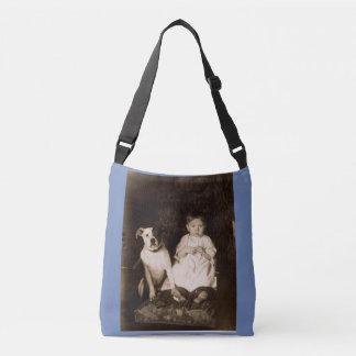circa 1910 pitbull and baby RPPC Crossbody Bag