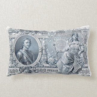circa 1912 Tsarist Russia 500 ruble bill Lumbar Cushion
