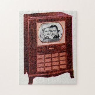 circa 1951 television set man and woman jigsaw puzzle