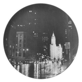 circa 1954:  A view down Michigan Avenue Plate