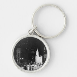 circa 1954:  A view down Michigan Avenue Silver-Colored Round Key Ring