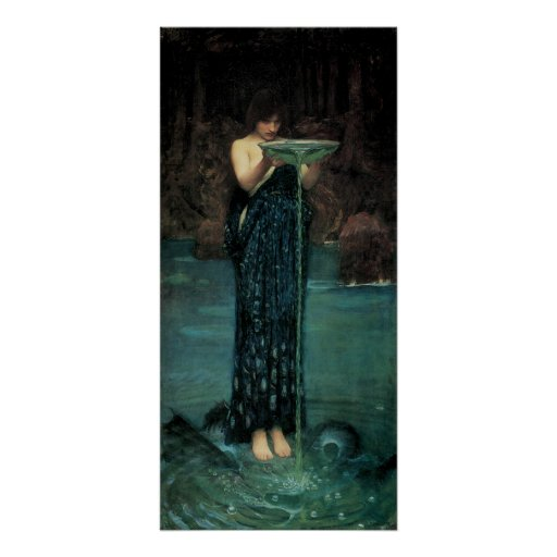 Circe Invidiosa by Waterhouse, Vintage Victorian Poster