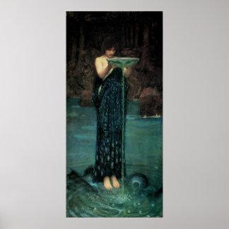 Circe Invidiosa JW Waterhouse Vintage Victorian Poster