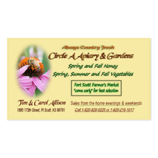 Circle A Apiary and Gardens Business Cards