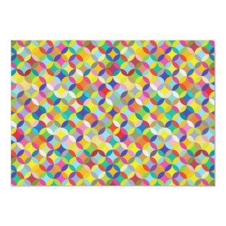 Circle and Diamond Colorful Pattern Design 13 Cm X 18 Cm Invitation Card