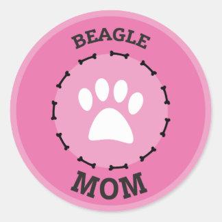 Circle Beagle Mom Badge Classic Round Sticker