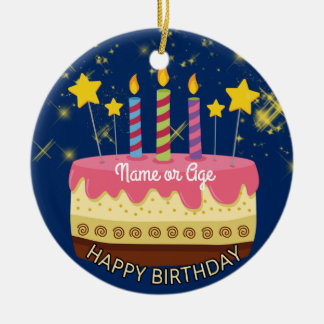 CIRCLE BIRTHDAY Cake with Stars & Sparklers Christmas Ornament