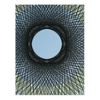 circle blend in harmonize with black abstract art postcard