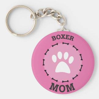 Circle Boxer Mom Badge Key Ring