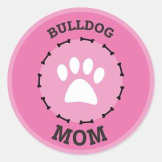 Circle Bulldog Mom Badge Classic Round Sticker