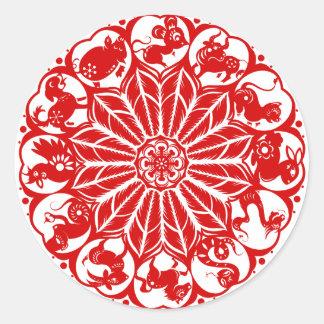 Circle Chinese Zodiac Papercut Round Sticker