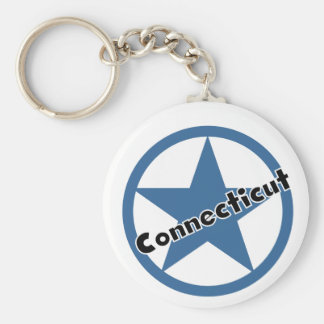 Circle Connecticut Basic Round Button Key Ring