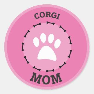 Circle Corgi Mom Badge Classic Round Sticker