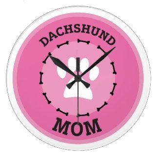 Circle Dachshund Mom Badge Large Clock